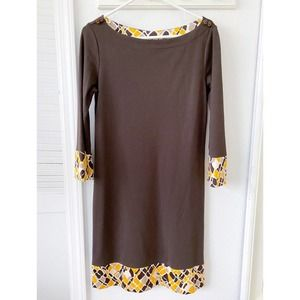 Tory Burch Wool Shift Dress w/ 3/4 Sleeves